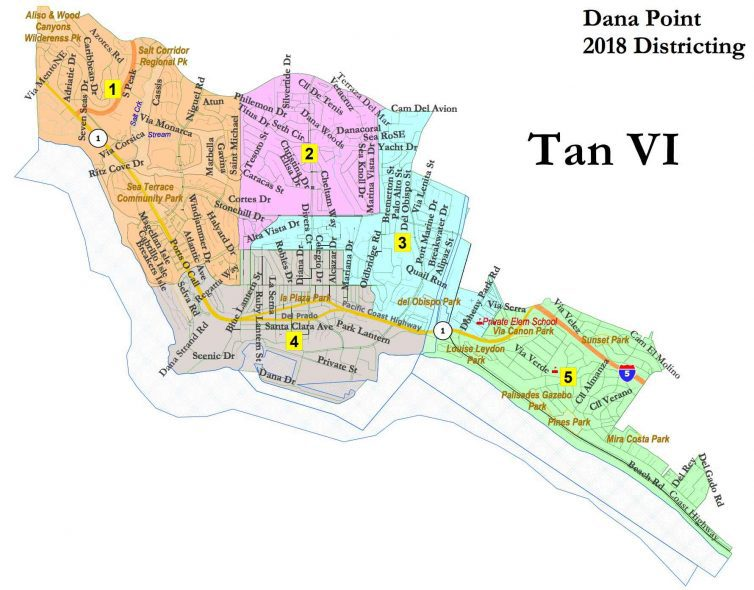 Dana Point Voting Districts Map (Tan VI) as approved 1-may-2018