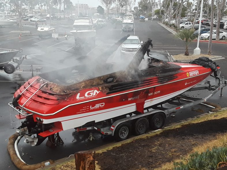 Photo of Dana Point Harbor electric boat fire